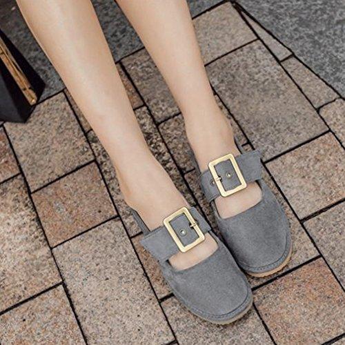 Giy Mocasines De Gamuza Para Mujer Mocasín Plano Slip-on Correa De Hebilla Square Toe Casual Penny Loafer Oxford Zapatos Gris