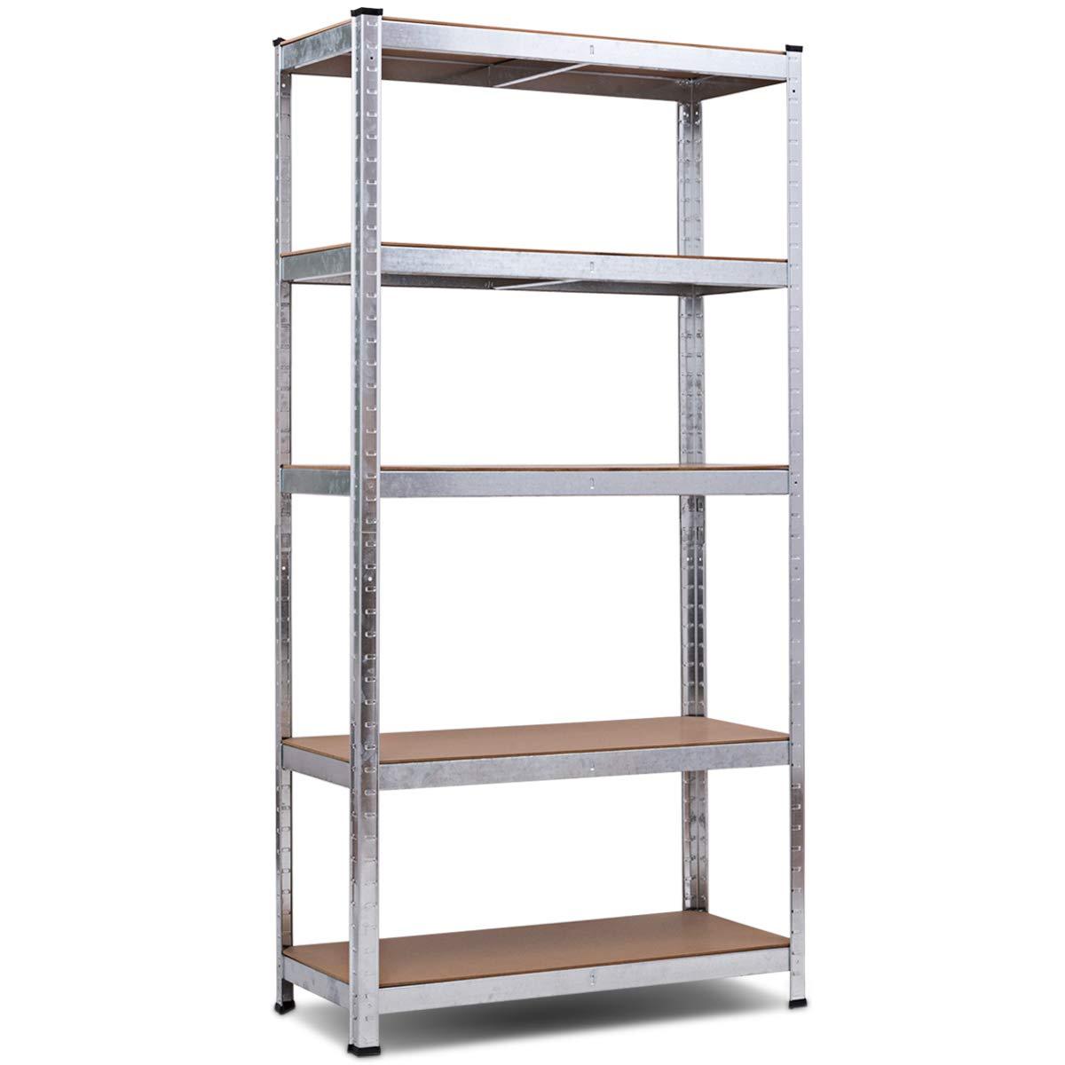Giantex 5-Tier Shelving Rack Garage Storage Rack Adjustable Shelves Steel Multipurpose Display Stand Bolt-Free Assembly by Giantex