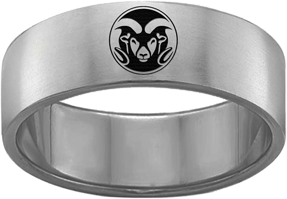 Colorado State Rams Single Logo Rings Stainless Steel 8MM Wide Ring Band Size 7