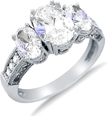 Women/'s 925 Sterling Silver 3-stone Oval Cubic Zirconia Ring Size 6-9 Jewelry