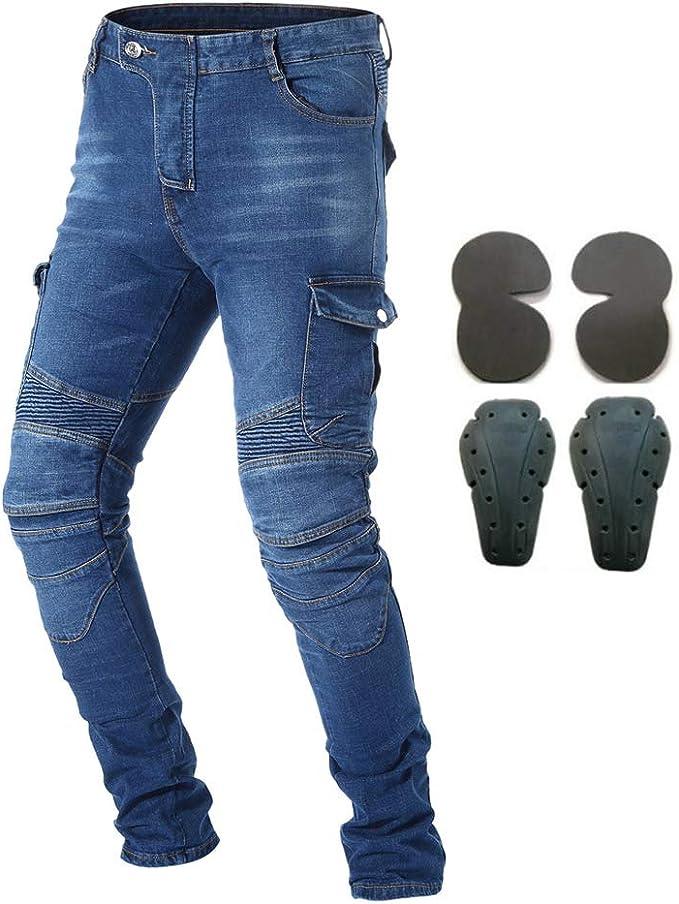 Mdsgfc Motorrad Reit Jeans Mit 4 X Protektoren Knie Und Hüftpolster Motocross Rennhosen Schutzhosen Blau S Sport Freizeit