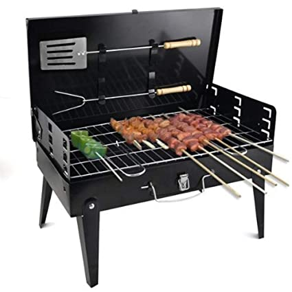 shopper 52 Charcoal Briefcase Style Portable Folding Chromium Steel Barbeque Grill Toaster, Standard Size (Black)
