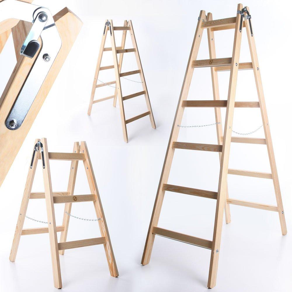Holzleiter PREMIUM 2x5 Stufen Zweiseitige Klappleiter Leiter Haushaltsleiter 150kg