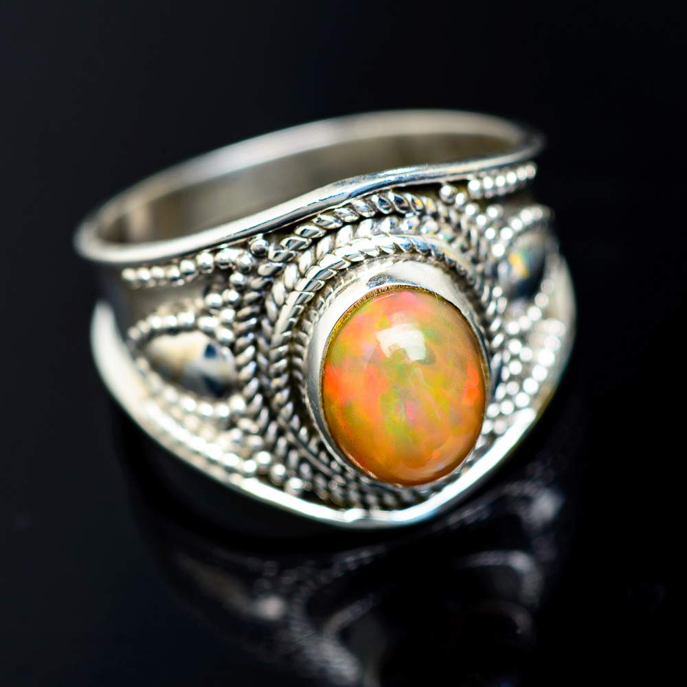 925 Solid Silver Ring Ethiopian Opal Gemstone Ring Silver 925 Sterling Silver Ring Ethiopian Opal Ring Jewelry Sterling Ring Size 7.25 US