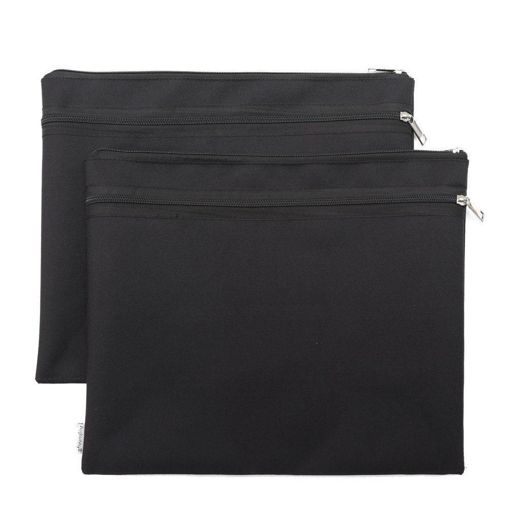 Augbunny 600D 2 Pockets Portfolio Waterproof With Zipper For School and Office 2-pack