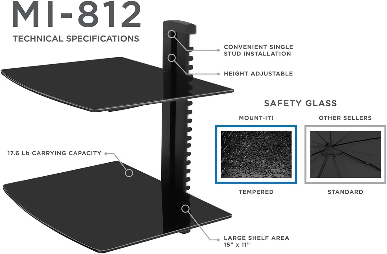 Black Wall Mounted AV Component Shelving System with 2 Adjustable Tempered Glass Shelves Mount-It
