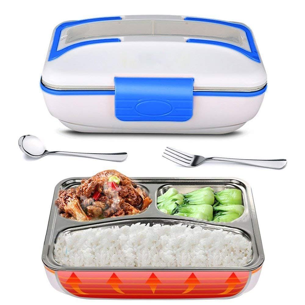 YOUDirect Electric Heating Bento Lunch Box - Portable Meal Heater Food Warmer Stainless Steel Plug Heating Food Container Leak-Proof Electronic Food Boxes for Home Office Use 110V (Blue.)
