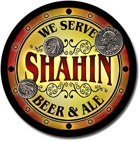 Shahin Family Name Beer and Ale Rubber Drink Coasters - Set of 4