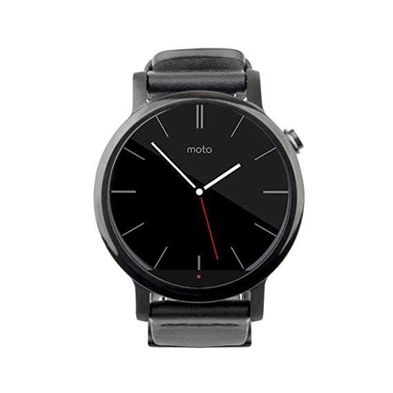 Motorola 2nd Generation Moto 360 42mm Smartwatch with Leather Wrist Band - Certified Refurbished (Black)