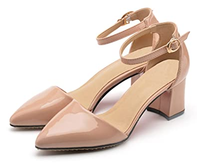 ee479383f3691 CAMSSOO Womens Ladies Mid Heel Block Chunky Ankle Strap Pointed Toe Sandals  Size Nude Patent Leather 2 UK M: Amazon.co.uk: Shoes & Bags