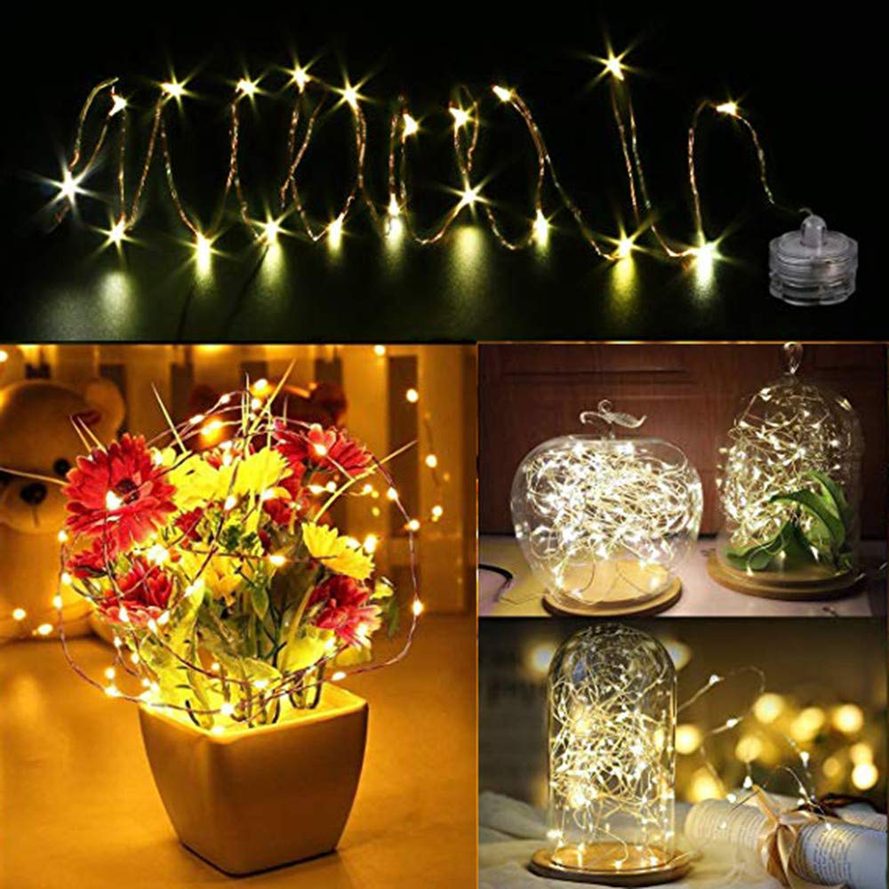 Waterproof Fairy Light, Elevin(TM) 1m 10 LED Submersible Waterproof Fairy Light Copper Wire String Lights Base Lamp (Beige)