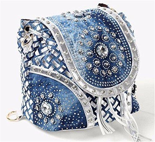 Las mujeres del doble bolso de cuero pu moda bolso doble bolsa tejida tipo cadena bolsa con flecos de elevación, 21*21*16cm,B B