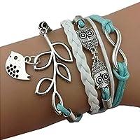 Newin Star Mode Rétro PU Bracelet en Alliage Cuir Bracelet Bangle Bracelet chaîne à Main