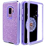 AMENQ Galaxy S9 Plus Case, Galaxy S9 Plus Case Purple, 3 in 1 Ultra Hybrid Heavy Duty Full Body Soft Gel Rubber TPU Bumper Glitter Protective Phone Cover for Samsung S9 Plus -Without Screen Protector