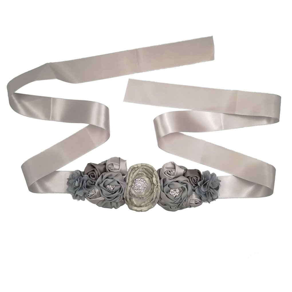 Maternity Sash Belt with Flower Bridesmaid Belts Flower Girls Belt JB26 (4-Grey)