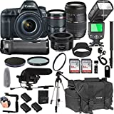 Canon EOS 5D Mark IV With 24-105mm f/4 L IS II USM + 50mm 1.8 STM + Tamron 70-300mm + 128GB Memory + Pro Battery Bundle + Power Grip + Microphone + TTL SpeedLight + Pro Filters,(25pc Bundle)