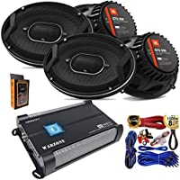 "(4) JBL GTO939 Premium 6x9"" Co-Axial Speaker + Gravity WZ1000.4 1000W 4 Channel 2/4 Ohm Stable w/Remote Sub Control Amplifier + Amp Kit"