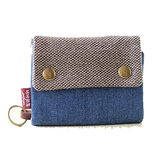 YaJaMa Canvas Small foldable Women Wallet Credit Card Case Cover Holder  Keychain Coins Purse (Dark 5c35575f10