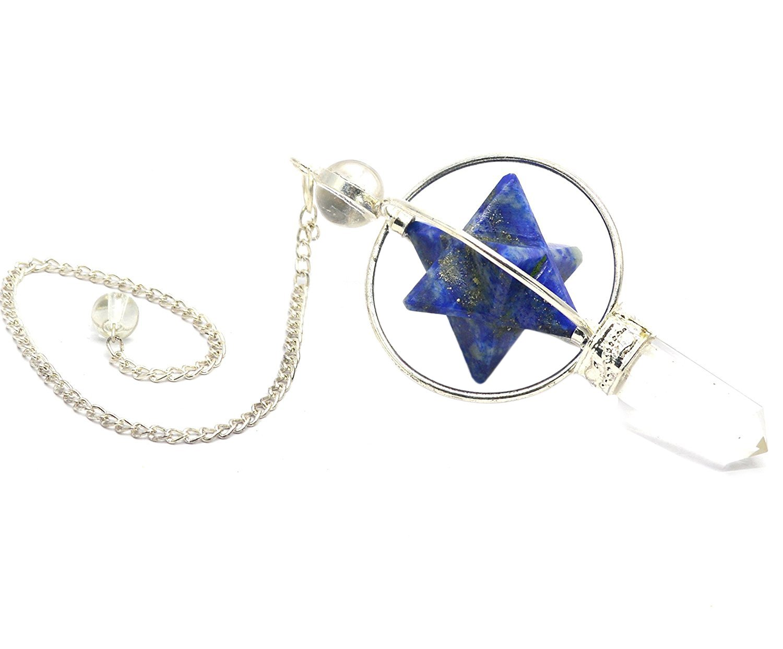 Healing Crystals India Lapis Merkaba Star Healing Heart Crystal Dowsing Divination Pendulum