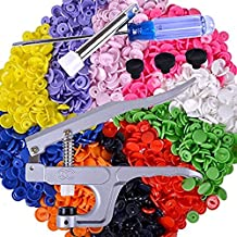 TopRay Press Stud Popper Cloth Diaper Snap Plier and 150 Sets T5 Size 20 Snap Plastic Resin Snap Buttons in 10 Colors White Black Blue ect