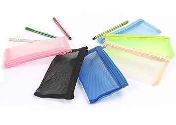 Dosige 4 Piezas Nueva bolsa de útiles escolares Estuche de lápices transparente neto creativo multicolor Bolsa de cosméticos multicolor 18*9cm: Amazon.es: ...