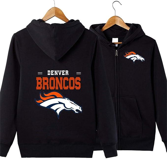 JJCat Mens Hooded Long Sleeve Letters Print Denver Broncos Team Solid Color Zipper Hoodies