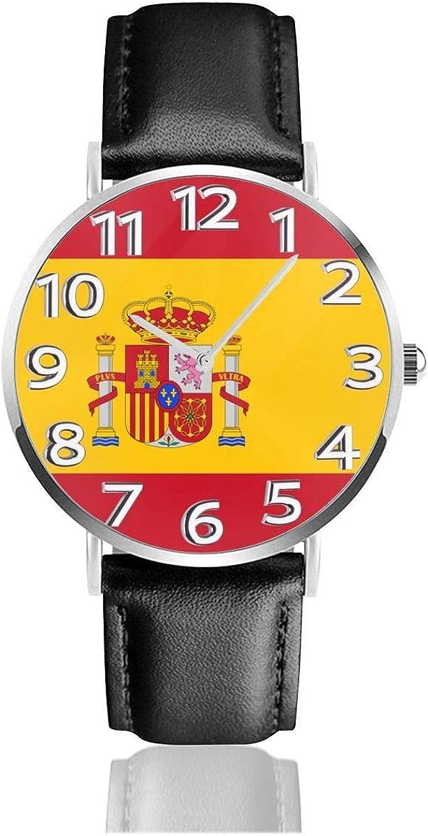 Reloj de Pulsera Reloj de Cuarzo Casual clásico con Bandera de España Reloj de Correa de Cuero Negro Relojes de Negocios/Oficina/Trabajo/Escuela: Amazon.es: Relojes