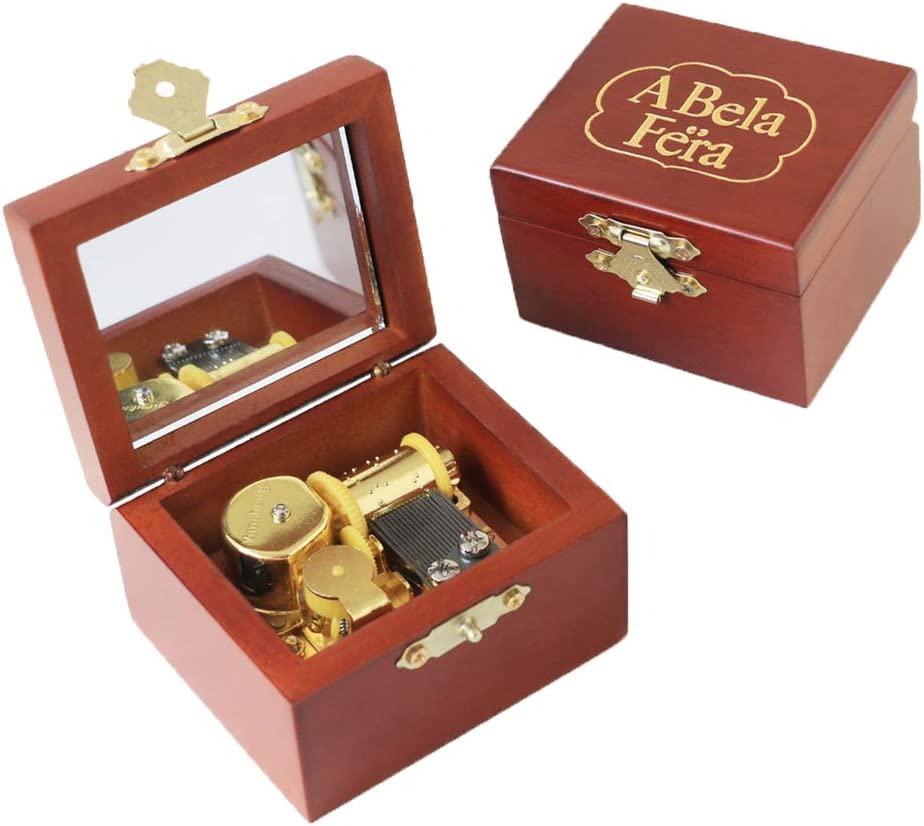 Wind up Muisc Box Beauty and The Beast Carved Wood Musical Box with Mirror for Christmas,Birthday,Valentine's Day
