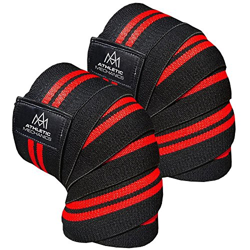 Bodybuilding Knee Wraps - Athletic Mechanics Ultimate Weightlifting Knee Wraps - Pair - Extra Strong Knee Protection During Squats and Deadlifts - For Bodybuilding, Powerlifting, Weightlifting, Crossfit - Leg Day & Back Day