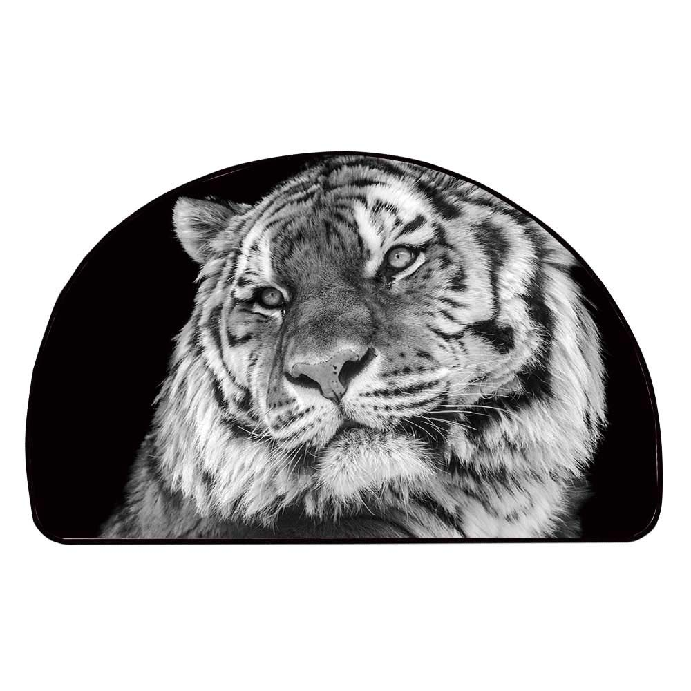 C COABALLA Tiger Comfortable Semicircle Mat,Close up Photo of a Wild Feline Beast with an Intense Gaze Strength of a Hunter Decorative for Living Room,11.8'' H x 23.6'' L
