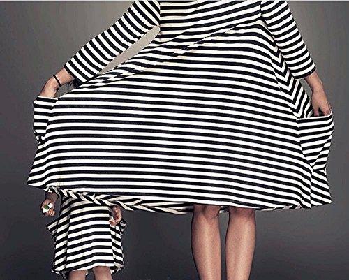... Battercake Kleider Familie Ausgestattet Mama und Tochter Elegant  Schwarz Weiß Gestreiften Casual Frauen Kleid 3  ... d381c3765c