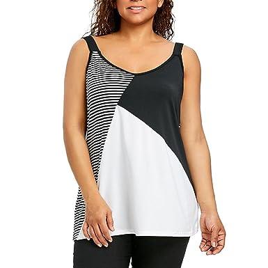 Hansee Fashion Damen Plus Size Streifen Patchwork Geometrische ...