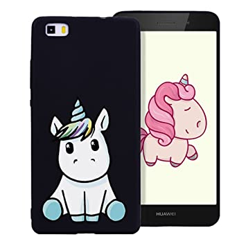 Funda Huawei P8 Lite 2016 Dibujo Unicornio Encantador Suave Silicona TPU Flexible Carcasa Color Caramelo Ultra Delgado Cover Trasera Case Protector ...
