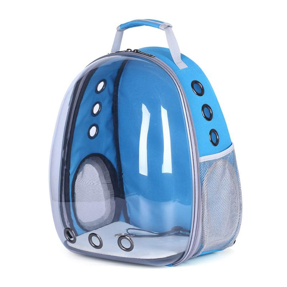 bluee BigShi-AUSPICIOUS Full Transparent Visual Pet Backpack Out Portable Breathable Shoulder Pet Supplies Cat Bag Dog Bag Pet Capsule (color   bluee)