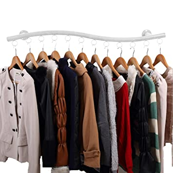 Wall Mounted Clothes Hanging System YIFAN Iron Clothing Hanger Rack For Living Room Bedroom Laundry