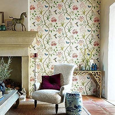 57 Square ft//Roll Blooming Wall Beige Penoy Flower Wallpaper for Walls Wall Mural for Livingroom Bedroom Bathroom