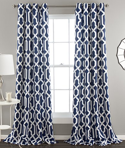 Lush Decor Edward Trellis Room Darkening Window Curtain Panel Pair, 84 Inch  X 52 Inch, Navy, Set Of 2