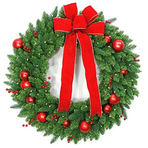 National Tree Company 36 in. Battery Operated Mixed Fir Artificial Christmas Wreath with 100 Clear LED Lights