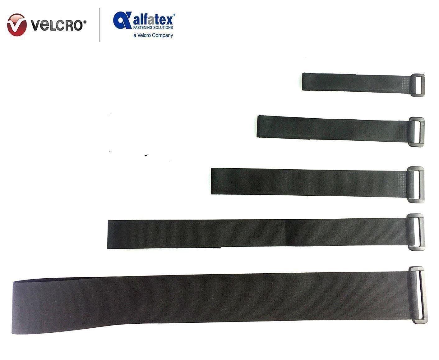 mit Klett-Verschluss und Schnalle schwarz- 2cmx20cm 2 St/ück VELCRO/® Brand wiederverwendbare Klett-Kabelbinder wiederverschlie/ßbar universell einsetzbar