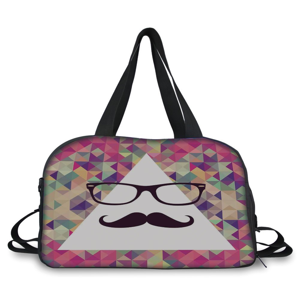 iPrint Travel handbag,Geometric,Hipster Mustache and Glasses White Triangle Mosaic Background Funny Art Print,Multicolor ,Personalized