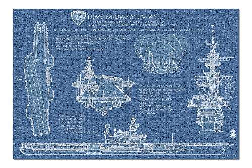 San Diego, California - USS Midway Blue Print (20x30 Premium 1000 Piece Jigsaw Puzzle, Made in USA!)