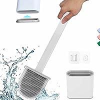 Toilet Brush with Slim Holder Silicone Flex Toilet Brush Anti-drip Set Toilet Bowl Cleaner Brush,No-Slip Long Handle…