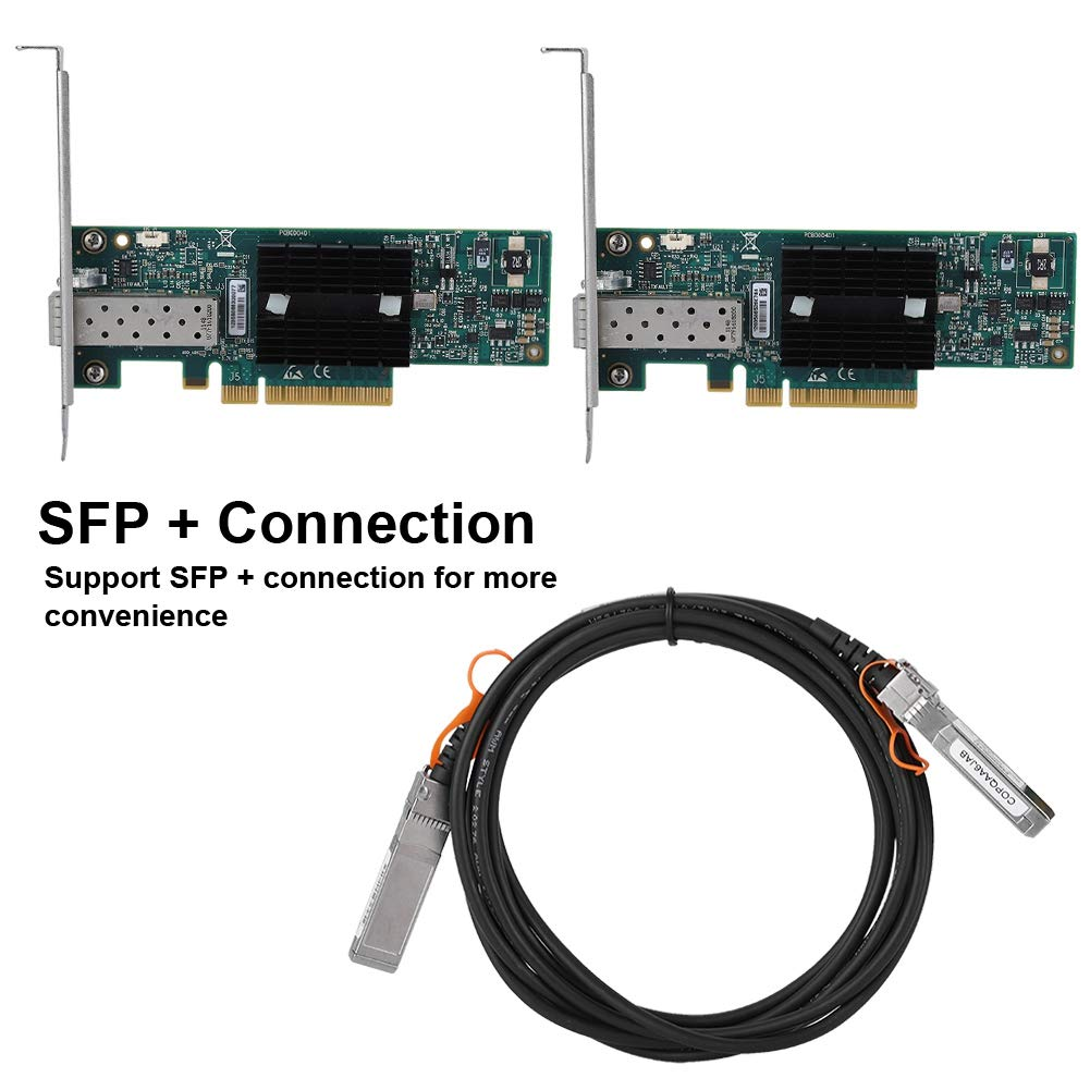 10G ConnectX-2 Network Card, 2 PCI-E Network Card + 1 SFP + Connection Cable, Single-Port Ethernet Card for Mellanox MNPA19-XT