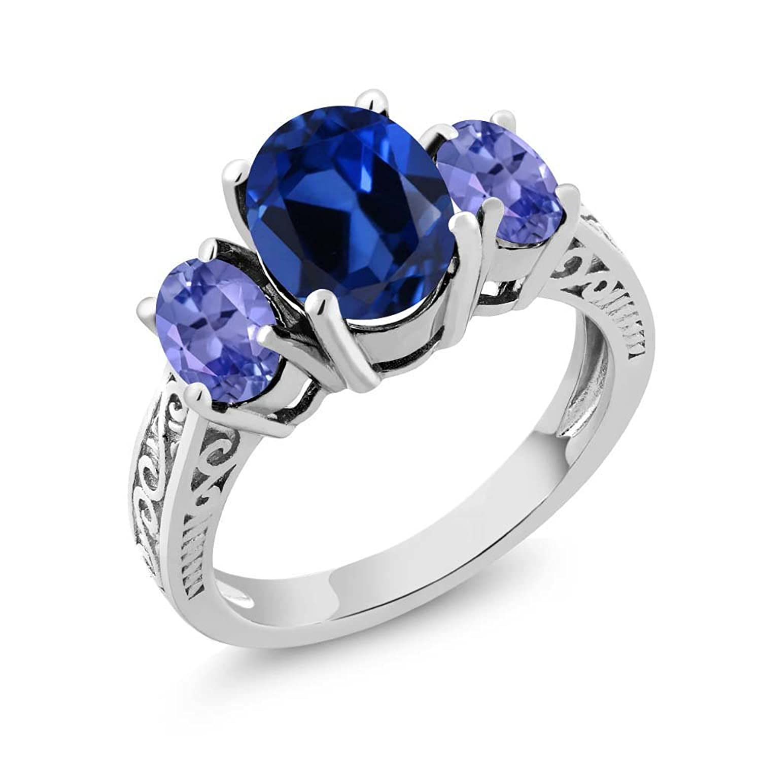 3.05 Ct Oval Blue Simulated Sapphire and Tanzanite 925 Sterling Silver 3-Stone Women's Ring (Available in size 5, 6, 7, 8, 9)