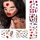 Halloween Tattoos,Scary Tattoos Temporary,Water Transfer Body Art Tattoos,Realistic Wound Scar Blood Body Tattoos for Kids Women,Waterproof, Sweat-proof, Long lasting, 5 Pack Scary Tattoos