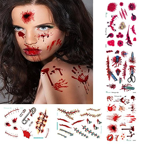 Halloween Tattoos,Scary Tattoos Temporary,Water Transfer Body Art Tattoos,Realistic Wound Scar Blood Body Tattoos for Kids Women,Waterproof, Sweat-proof, Long lasting, 5 Pack Scary Tattoos (Halloween Face Gashes)
