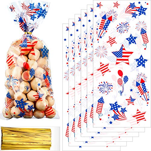 Chuangdi 100 Pack July of 4th Day Treat Bag Patriotic Cello Bag Party Bag Candy Cellophane Bag Fourth of July Goody Bags Grab Bag for Patriotic Day