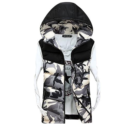 (ヤンググロリ)YOGLY 迷彩 ダウンベストメンズジレベストミリタリーベストダウン中綿ポケットベストノースリーブパーカー冬ベスト厚手生地中綿入れ 防寒コート 冬  軽量 ビジネス 大きいサイズ M-XXXL