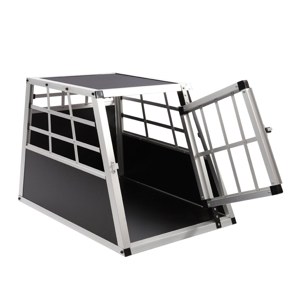 Aluminum Car Dog Cage Travel Car Crate Puppy Transport Pet Carrier WarmieHomy Dog Cage 54x 69x 50cm