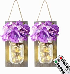 Mason Jar Wall Lights with Remote Control and Purple Flower, LIGHTESS Rustic Bedroom Wall Decor, Hanging Battery Powered Jar Sconces with LED Fairy Lights for Farmhouse Decor, SYA11, Set of 2